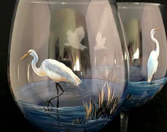 eda4bd61000 Coastal Wine Glass Nautical Collectible Hand Painted Egret Marsh Wetlands  Southern East Coast White Bird Beach Seaside Barware Stemware Art