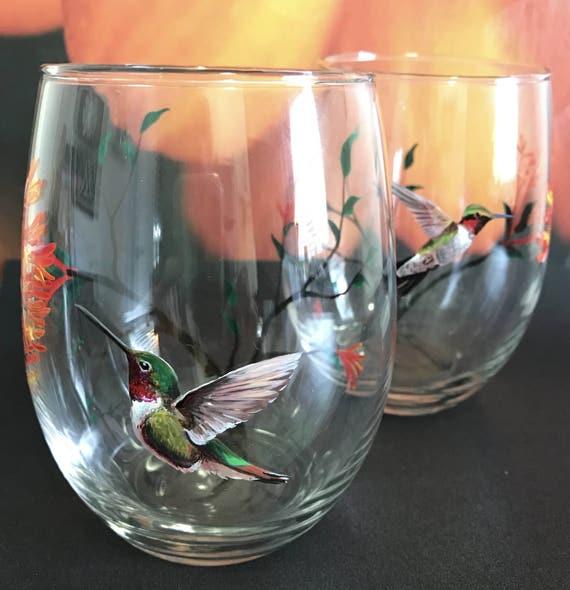 Hummingbird Wine Glass Hand Painted Floral Tree Summer Bird Etsy
