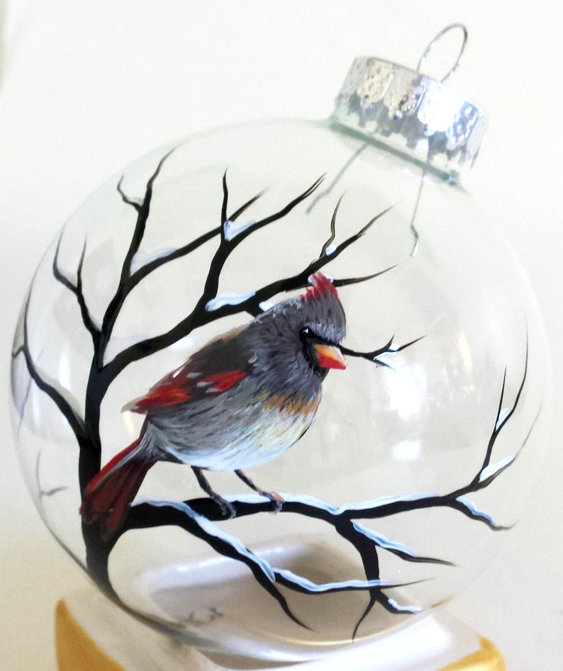 Cardinal Ornament Hand Painted Glass Holiday Christmas ...