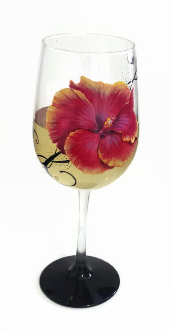 unique hand painted wine glasses diy bridal party wine image hibiscus flower hand painted wine glass hot pink floral unique etsy
