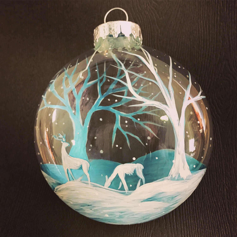 Christmas Tree Ornament Hand Painted Winter Wonderland 3D ...