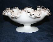 Fenton White Milk Glass 8 quot Ruffled Silvercrest Pedestal Bowl Nut Candy Dish