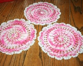 Set of three Vintage Crocheted Round Doily Variegated Pink and White Edging