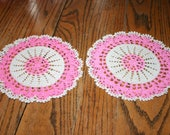 Pair of Vintage Crocheted Round Doily Ecru and Pink