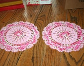 Pair of Vintage Crocheted Round Doily Pink and a Variegated Pink