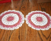 Pair of Vintage Crocheted Round Doily White and Burgundy