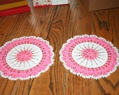 Pair of Vintage Crocheted Round Doily White and Pink