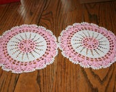 Pair of Vintage Crocheted Round Doily White and Light Pink