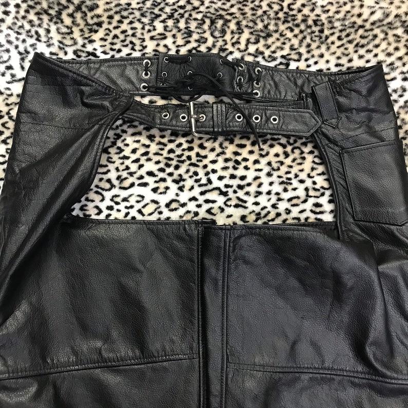 Men\u2019s extra large vintage genuine leather chaps motorcycle biker punk goth Moto heavy duty zipper protective riding gear pants lace up