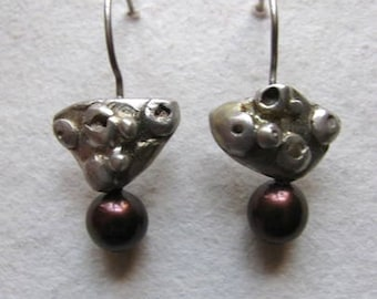 Sterling silver and chocolate pearl One of a Kind earrings.
