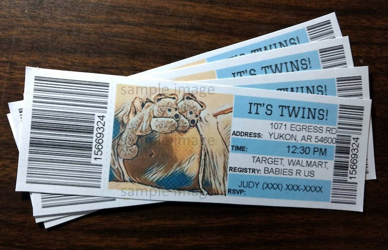 Twins Announcement Ticket Baby Shower Invitation Customized image 0