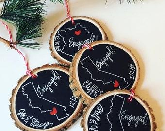 personalized engagement christmas ornament newlywed wedding gift engaged christmas giftbride couple shower gift engagement ring