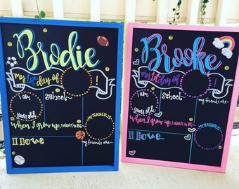 Personalized First Day of School Sign,  Chalkboard, First Day of Kindergarten, Personalized, Reusable, First Day of Preschool Sign