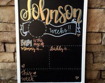 Weekly pregnancy signs, weekly pregnancy chalkboard, Personalized Week by Week Chalkboard Sign, Pregnancy Countdown, Baby Announcement