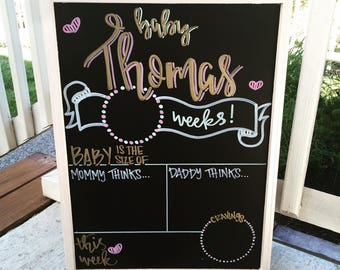 Pregnancy tracker, Weekly pregnancy signs, weekly pregnancy, Week by Week Chalkboard Sign, Pregnancy Countdown, Pregnancy Announcement