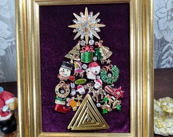 Christmas Tree Framed Jewelry Art