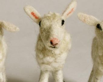 Needle Felted Sheep, Felt Wool Ornament, Lamb, Tree Ornament, 100% Wool, Made in Canada, Fiber Art, Folk Art