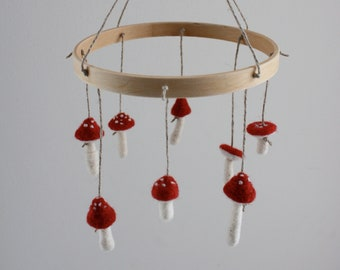 Red Mushroom Nursery Mobile, Needle Felted, Woodland, Waldorf, Baby Room, Baby Shower Gift, Ready to Ship