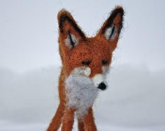 Needle Felted Fox Ornament // Christmas decoration