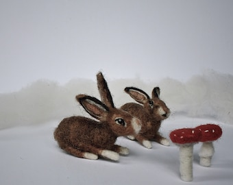 Needlefelted Bunny Rabbit // Hare // Ornament // Easter Decoration // Wool