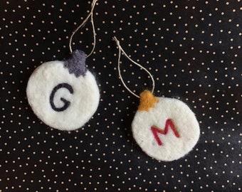Custom Monogram Christmas Ornament // Needlefelted // 100% Wool