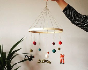 Made to Order Customized Needled Felted Mobile // Woodland Creatures // Nursery Mobile // Baby Mobile