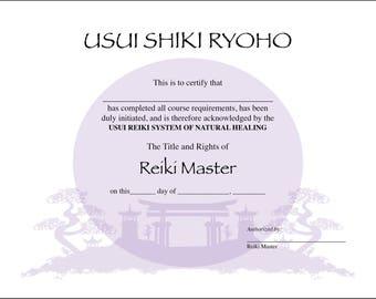 Usui Reiki Master Certificate Printable Template Teachers Digital 11 X 85 Lavender Asian Landscape Background