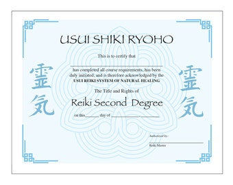 Usui Reiki II Certificate Printable Template