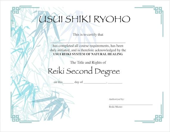 2 Usui Reiki II Certificate Templates