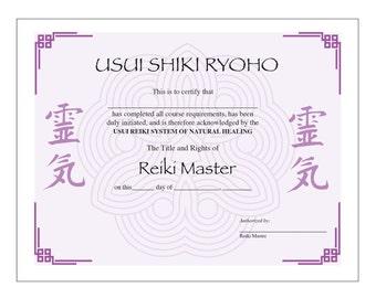 Usui Reiki Master Certificate Printable Template