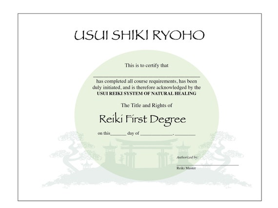 Usui Reiki I Certificate Printable Template Etsy