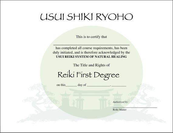 usui reiki i certificate printable template digital 11 x 8