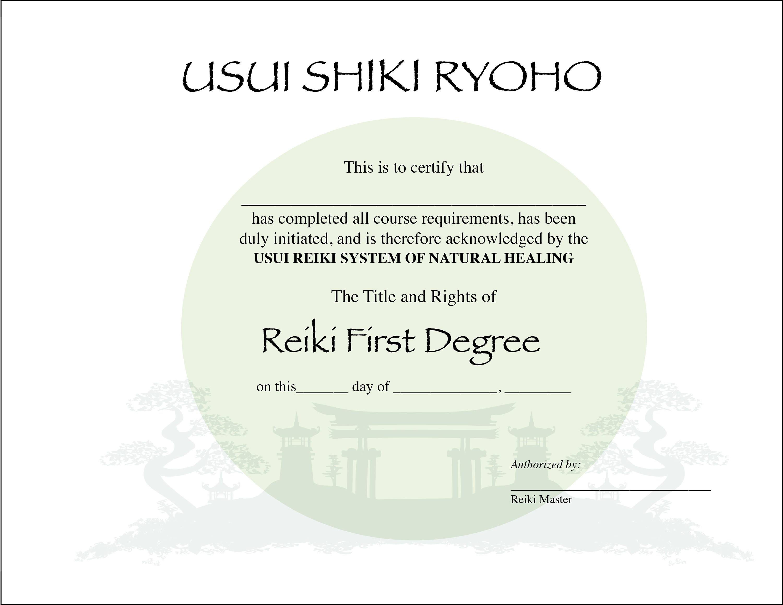 Usui Reiki I Certificate Printable Template Digital 11 X 85 Etsy