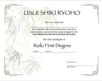 Usui Reiki I Certificate Printable pdf Template Digital 11 X 8.5 with Shades of a Green Bamboo Background