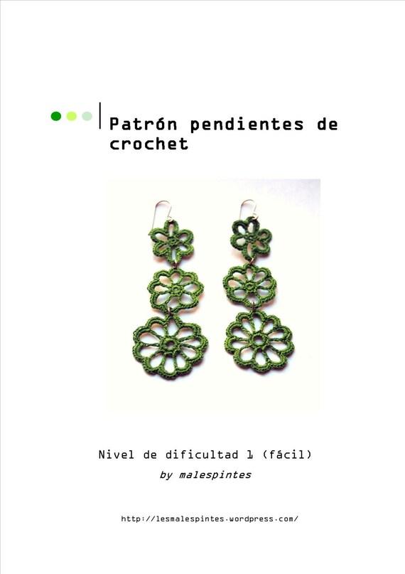Patron para hacer unos bonitos pendientes de crochet. PDF.