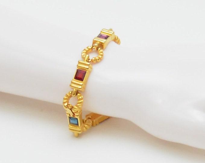 Vintage Gemtone Gold Link Bracelet