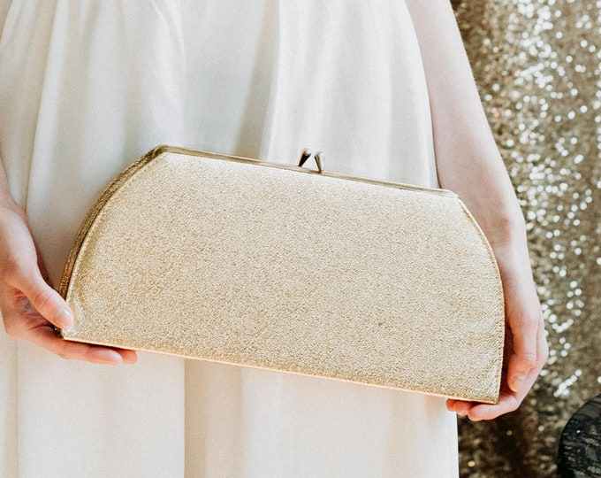 70s Gold Metallic Clutch - Vintage 1970s Over-sized Evening Bag