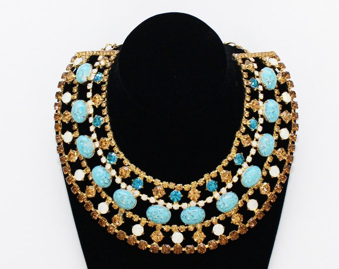 Rhinestone and Turquoise Statement Necklace - Vintage 90s Krystal London Bib Necklace