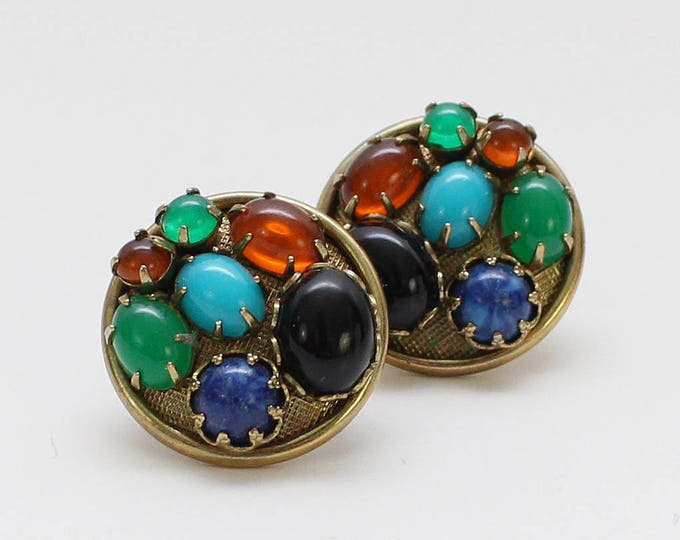 Vintage 1960s Stone Cluster Earrings