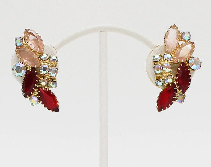 Vintage 1960s Ruby Red Juliana Rhinestone Earrings by Delizza and Elster