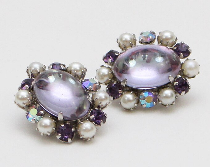 Sherman Lavender and Pearl Clip Earrings - Vintage 1960s Purple Cabochon Rhinestone Earrings