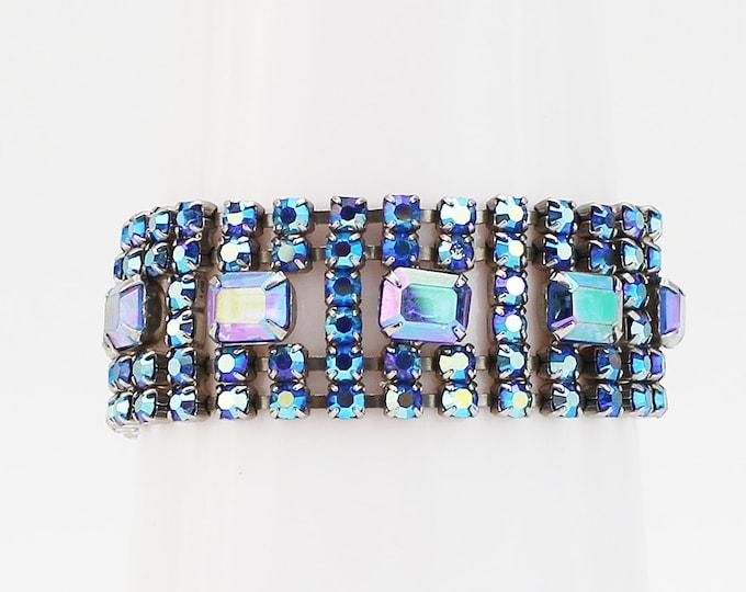 Blue Rhinestone Bracelet - Vintage 1960s Aurora Borealis Rhinestone Cocktail Bracelet