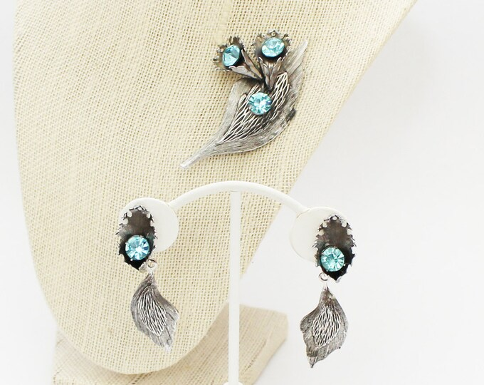 Art Nouveau Silver and Aqua Brooch and Earring Set - Vintage 1950s Jewelry Set