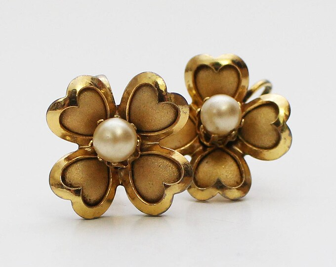 30s Coro Flower Earrings - Vintage 1930s Gold and Pearl Floral Screw Backs