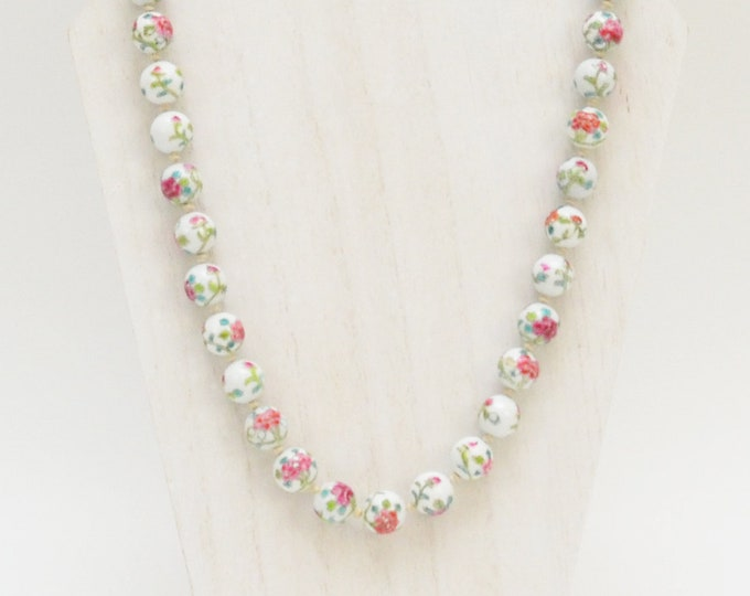 30s Floral Porcelain Beads - Vintage 1930s Hand Painted Beaded Necklace