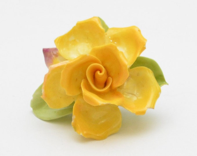 Vintage Yellow Bone China Rose Brooch - 1950s