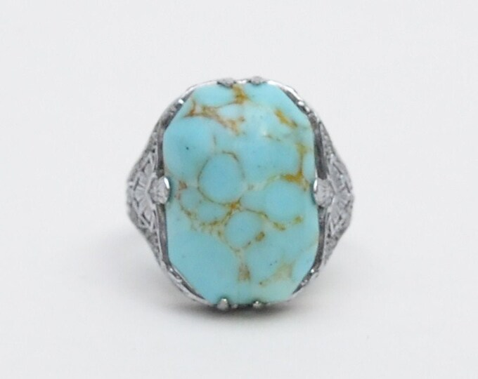 Vintage Art Deco Sterling Silver Turquoise Ring - Size 6.5