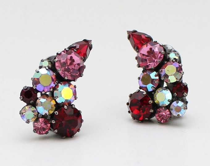 Vintage 1950s Red and Pink Rhinestone Clip Earrings