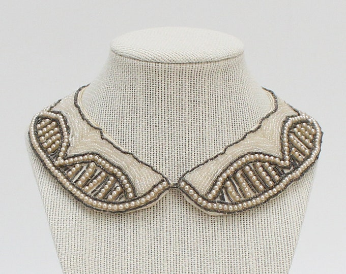 Vintage 1950s Beaded Bib Collar Necklace