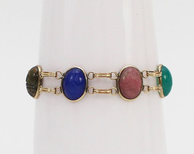 Vintage 1960s Egyptian Revival Scarab Bracelet